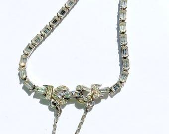 Rhinestone Baguette Tennis Bracelet Vintage Bride Retro Fashion Jewelry