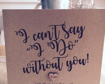 """Rustic Vintage Inspired Personalised """"Will you be my Bridesmaid?"""" Card"""