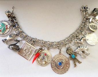 Vintage Charm Bracelet Sterling Silver Charm Bracelet Sterling Charms Heavy 69 grams
