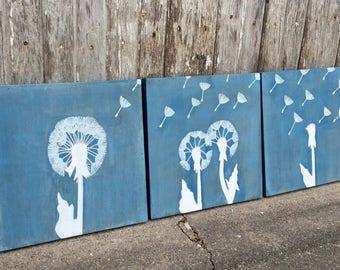 Trio of Dandelion Paintings, Dandelion Wall Art, Dandelion