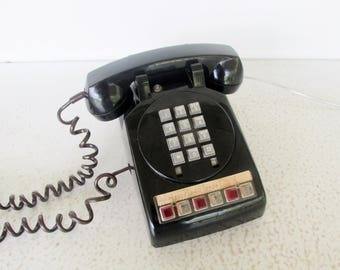 70s Office Telephone Push Button Multiple Extensions Hold 1970s Black