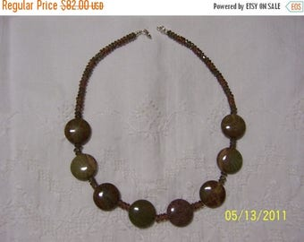 CLEARANCE 36% OFF, Brown-Green Jasper and chzec. crystal necklace 19 1/2 in. long/sterling silver clasp