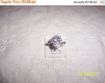 20% OFF VALENTINES SALE Vintage Pear and Round cubic zirconias ring. Sterling silver.
