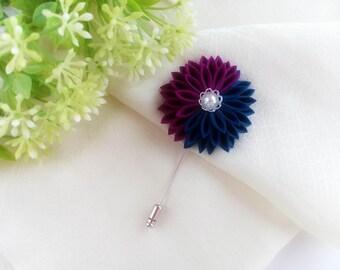Flower Stick Lapel Pin, Teal Purple Chrysanthemum, Scarf/Hat Pin, Lapel Pin Men Women Wedding Boutonniere Kanzashi Flower, Gift for Her/ Him
