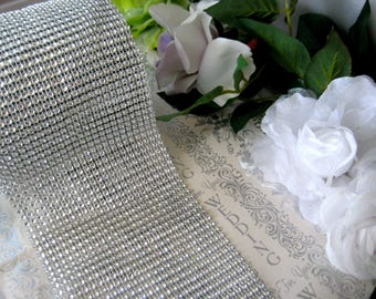 Silver Diamond Mesh Wrap Ribbon for Wedding, Vases, Centerpieces, Cake Stands, Decorate Favor Boxes, 1 Yard, 4.75 inches wide
