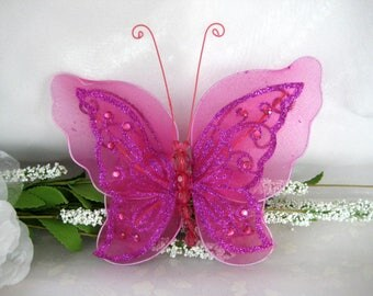 "7"" Fuchsia Nylon Butterflies 2 layered for Baby Shower, Sweet 16, Quinceanera, Wedding, Flower Arrangement, Birthday Party, 1 or 3 piece"