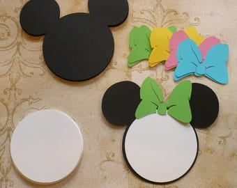 25 Black Minnie Mouse Head White Circle Shapes Bowtique Color Bows Die Cut pcs for Baby Girl DIY Birthday Party Invitations