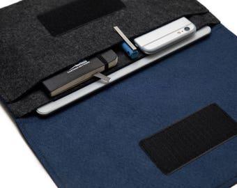 "iPad Pro Case / 12.9"" iPad Pro Cover / iPad Pro 10.5"" Organizer / iPad Pro 9.7 inch Folio case - Dark Gray & Navy Blue"