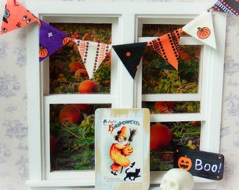Dollhouse miniature fabric bunting, fabric banner - Halloween 1:12 scale