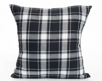 Plaid | Pattern | Black and White | Pillow Cover | Check | Lumberjack | Accent Pillow | Throw Pillow