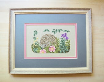 Framed Needlepoint, Cute Hedgehog, Blue and Pink with Floral, Kids Room Decor