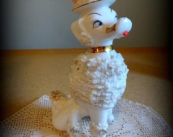 Vintage 1950s Spaghetti Poodle Textured Porcelain Stylized Figure Mid Century Minimalist Poodles