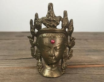 Vintage small brass Indian Hindu Goddess head altar piece