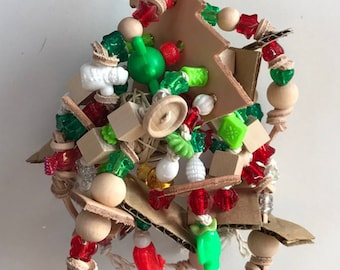 LEATHER CHRISTMAS Tree Bird Toy 12-LXT3047