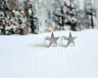 Small Star Earring Studs in Raw Brass or Silver Plated Brass, Stainless Steel Posts
