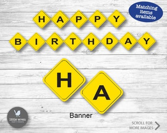 Construction party banner, Construction party, Construction birthday, Dump Truck, Construction Theme, digger, Construction Birthday, Bunting