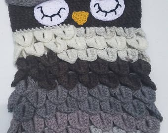 Owl Cocoon in Ebony and Ivory - NB - 6mos - Ready to Ship