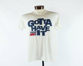 80s Pepsi T-shirt Screen Tee Advertising White Knit Short Sleeves Vintage 1980s  Large L