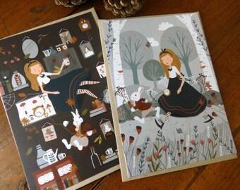 Set of 2 Alice in Wonderland postcards