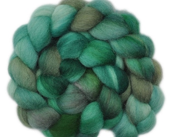 Handpainted roving - Corriedale Cross wool spinning fiber - 4.1 ounces -  Dim Forest 2