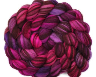 Hand painted roving - Corriedale Humbug wool spinning fiber - 4.0 ounces -  Hurrying Out The Door 1