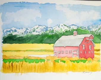 Signed Watercolor Print, Farmhouse, 8.5x11 inches, Vacation art, travel drawing, dunes, ocean, salt water