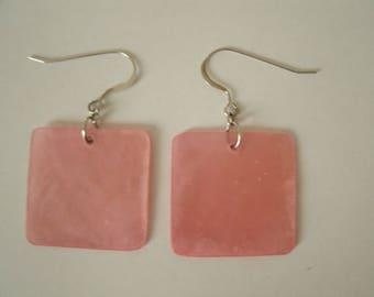 Pink Shell Earrings - Capiz Shell 1 Inch Square Earrings with Sterling Silver Hooks for Pierced Ears - Spring Summer Earrings