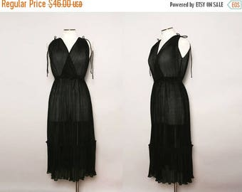 MOVING SALE Vintage 70s Sheer Black Dress / 1970s Pleated Party Dress / Size Small
