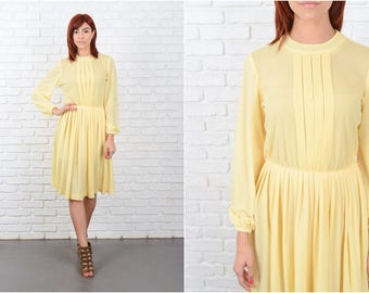 Vintage 70s Yellow Mod Dress Accordion Pleated Full long sleeve Small S 9607