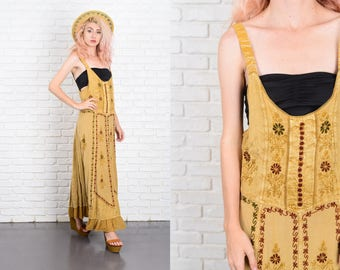 Vintage 80s 90s India Ethnic Maxi Jumper Dress Grunge Embroidered Floral Small S 9960