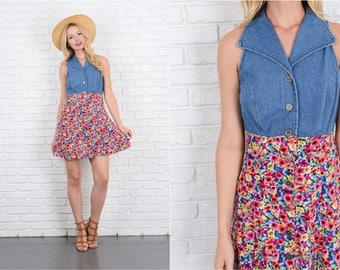 Vintage 90s Blue Jean Denim + Floral Print Dress Mini Grunge Small S 10061