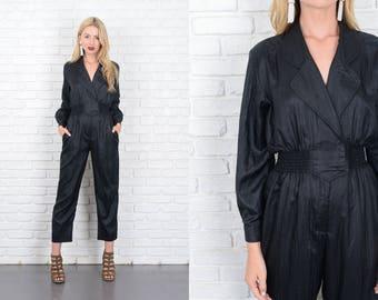 Vintage 80s 90s Black Jumpsuit Retro Pantsuit XS Small S 10138