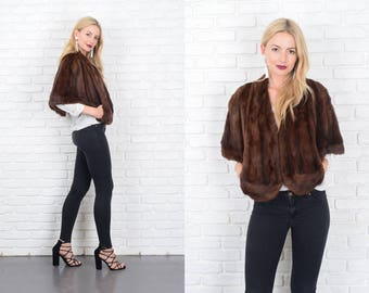 Vintage 70s Dark Brown Mink Fur Stole Jacket Coat Top Glam XS Small S 10167
