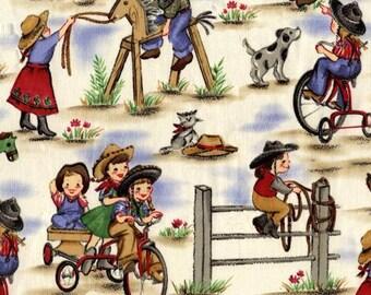 Lil' Cowgirls Denim Blue from Michael Miller Fabrics- 100% Cotton