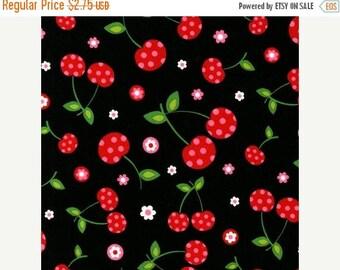 SUMMER SALE FAT Quarter Only - Polka Dot Cherries on Black From Robert Kaufman