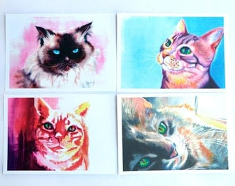 Set of Eight 5x7 Cat Notecards with Matching Stickers and Envelopes