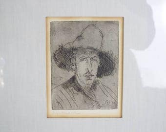 Antique Original Augustus Edwin John 1910 Signed Etching with Handwritten Letter