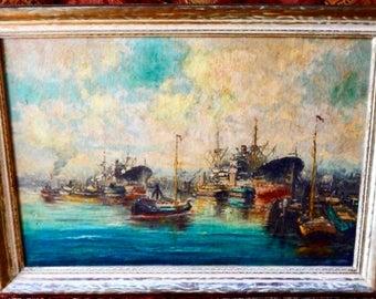 Sale Charles Andrews Impressionist Seascape Harbor Maritime O/C Painting Art 1947