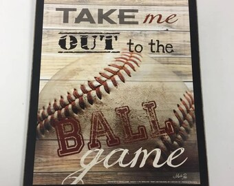 Take Me Out To The Ball Game Baseball Wooden Wall Art Sign Boys Sports Bedroom Decor