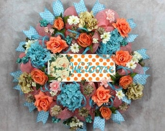 Welcome Wreath, Blue Teal Wreath, Coral and Teal Wreath, Hydrangea Wreath, Rose Wreath, Deco Mesh Wreath, Welcome Sign, Turquoise Coral