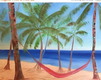 50% off SALE Hammock Time, Original Hand Painted Oil Painting. Size 8 x 10 canvas