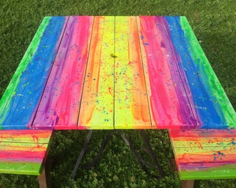 Rainbow Furniture Art Colourful Hand Painted Bright Outdoor Set Patio  Verandah Kids Home Table Benches Quirky
