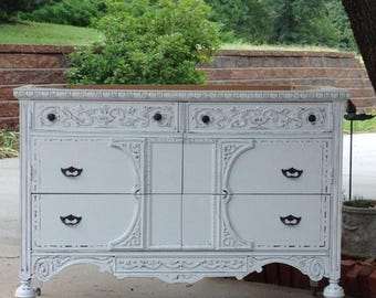 """15% OFF SALE BATHROOM Vanity Custom Converted From Antique Dresser Painted Dresser Shabby Chic Dresser 28"""" to 48"""" Wide"""