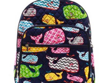 Monogrammed WHALE themed Quilted Bookbag - Back to School Backpack -Overnight bag - Bookbag - Back to school - Other colors available
