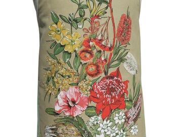 Metro Retro Australian WILDFLOWERS  Vintage Tea Towel HANDMADE Kitchen Apron - Christmas , Birthday Gift  - OOAK