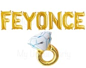 "FEYONCE Letter Balloons Air Fill only ""FEYONCE"" Banner / Large 32"" Mylar Engagement Ring Balloon Helium Quality"