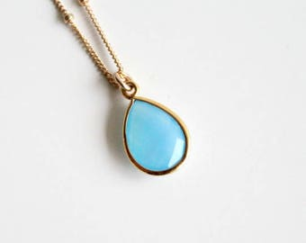 Small Blue Chalcedony Pendant Necklace. Faceted Teardrop Necklace. Gold Filled Chain Necklace. Gift For Her.