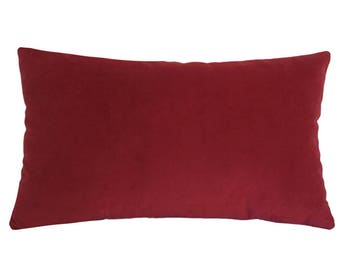 """Red Velvet Suede Decorative Throw Pillow Cover / Pillow Case / Cushion Cover / 12x18"""""""