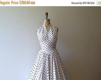 25% SALE 1950s halter dress . vintage 50s polka dot dress