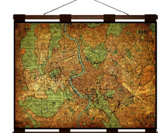 ROME Vintage Map 15E- Handmade Leather Wall Hanging - Travel Art